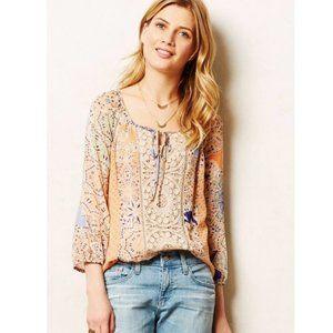 Meadow Rue Roselle Peasant Crochet Boho Blouse S